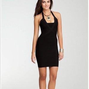 BEBE NWT black bandage halter dress